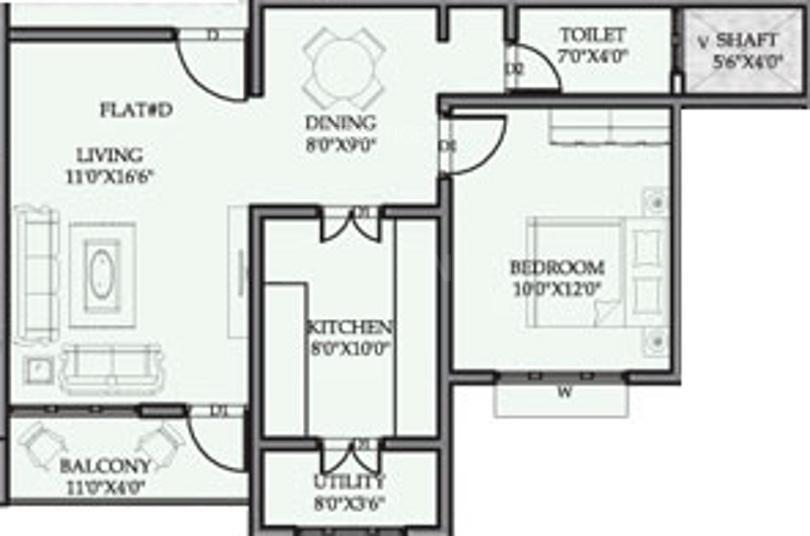 Mandavi Prince Palace Floor Plan: 1 BHK Unit with Built up area of 789 sq.ft 1