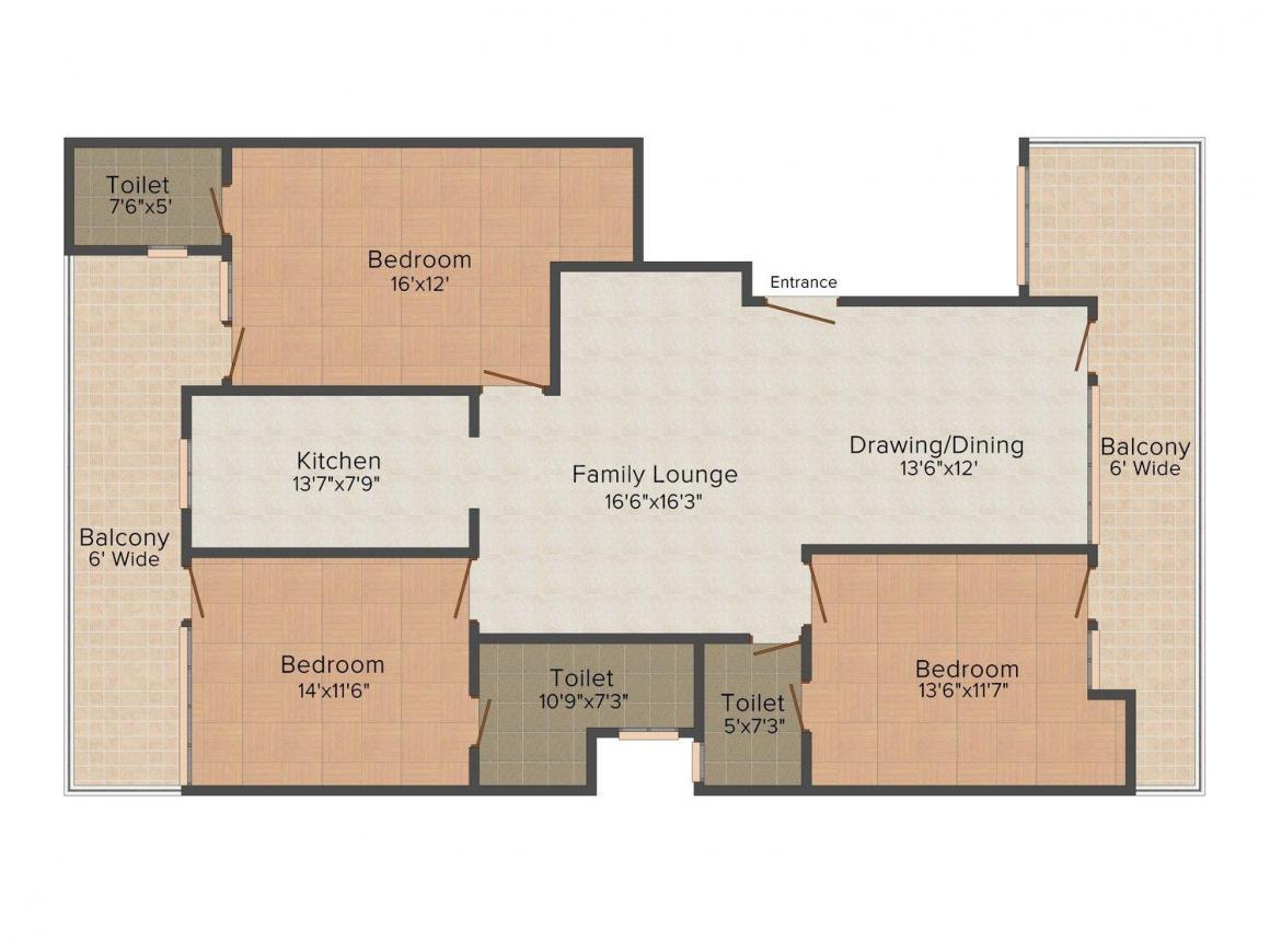Floor Plan Image of 0 - 2000.0 Sq.ft 3 BHK Independent Floor for buy in Infratech Floors - 7