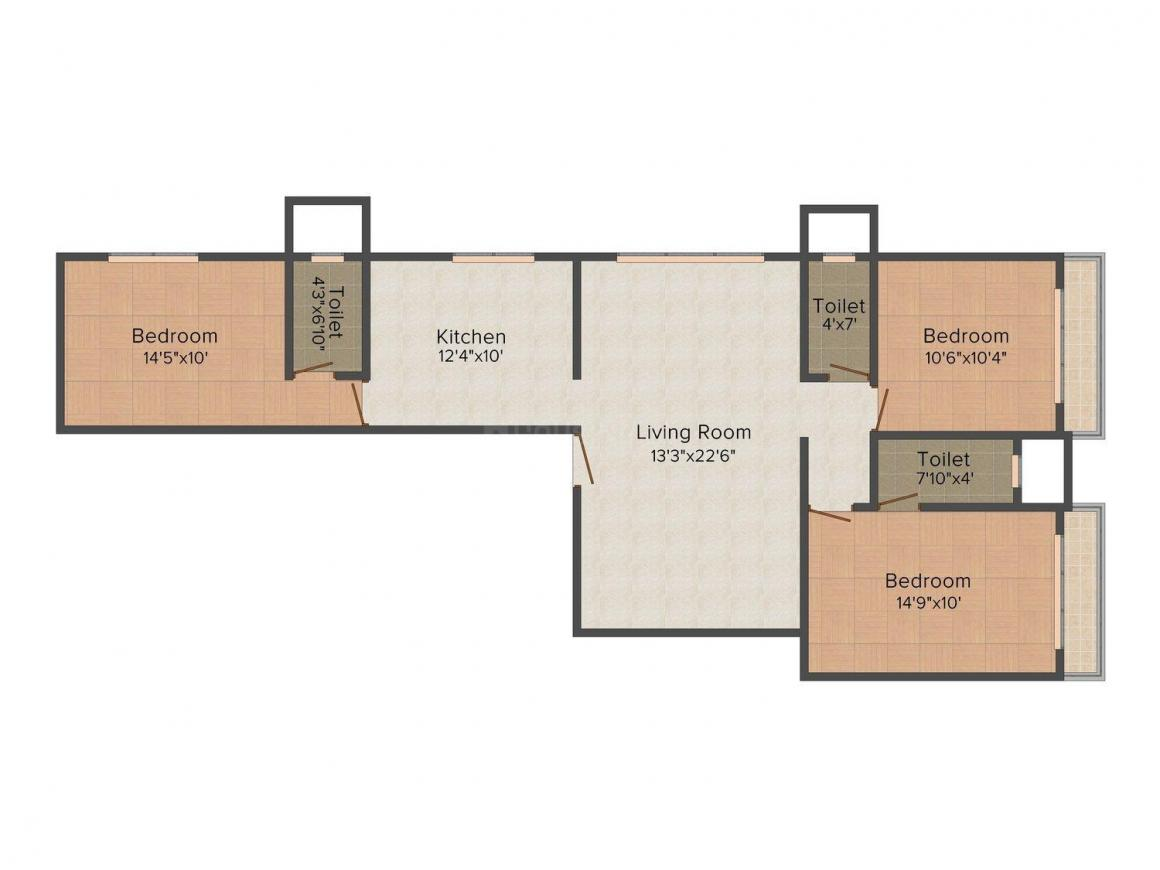 Floor Plan Image of 0 - 1565 Sq.ft 3 BHK Apartment for buy in  Morphosis Adajioa