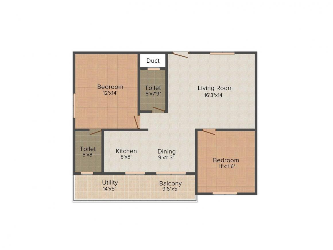 Floor Plan Image of 1210 - 1830 Sq.ft 2 BHK Apartment for buy in Place 2 Live Hexa Supreme