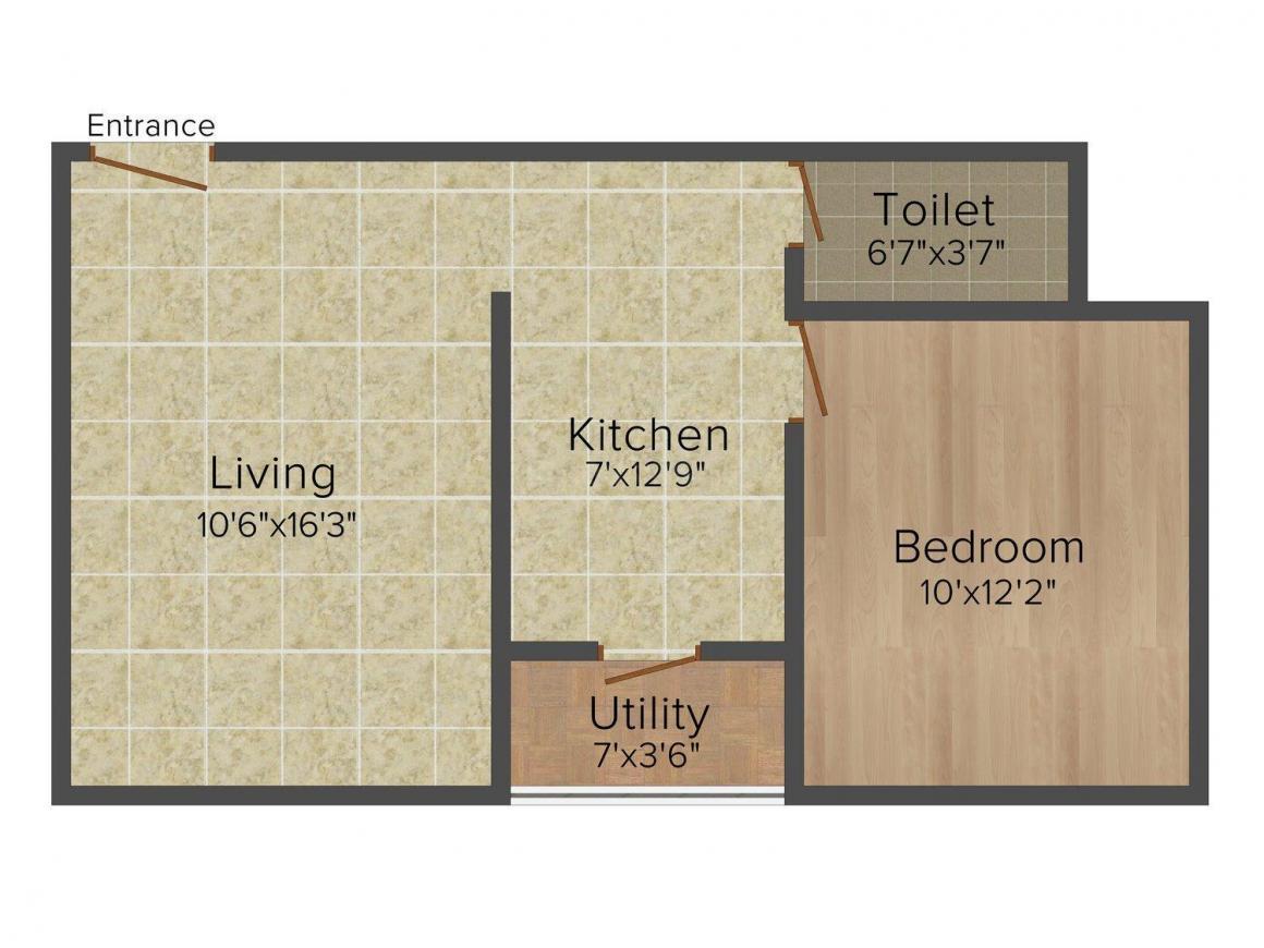 Floor Plan Image of 680.0 - 985.0 Sq.ft 1 BHK Apartment for buy in Ravi Gaurav Residency
