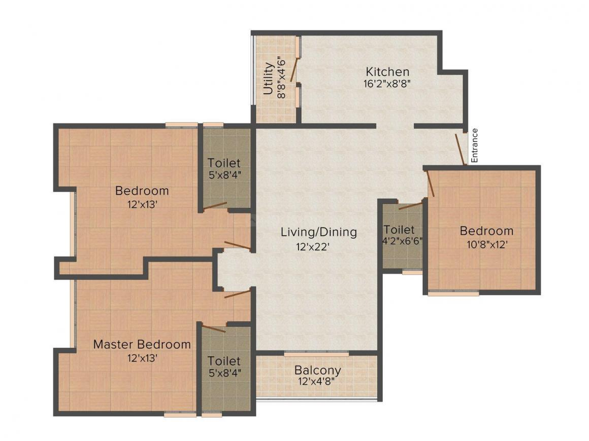 Floor Plan Image of 1325 - 1615 Sq.ft 2 BHK Apartment for buy in Confident Gemini