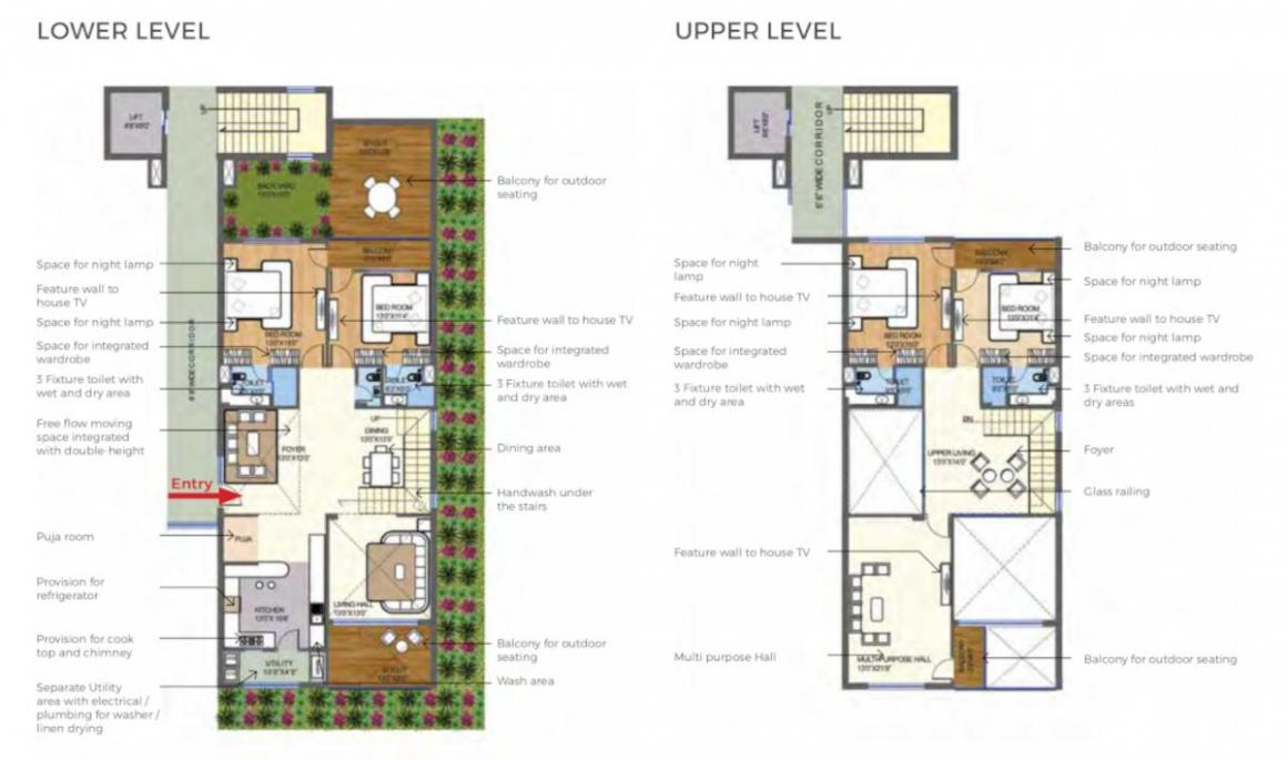 ARD Saavan Town Home Floor Plan: 4 BHK Unit with Built up area of 3183 sq.ft 1