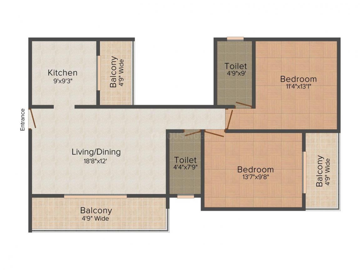 Floor Plan Image of 1119 - 1216 Sq.ft 2 BHK Apartment for buy in Vision Park - II