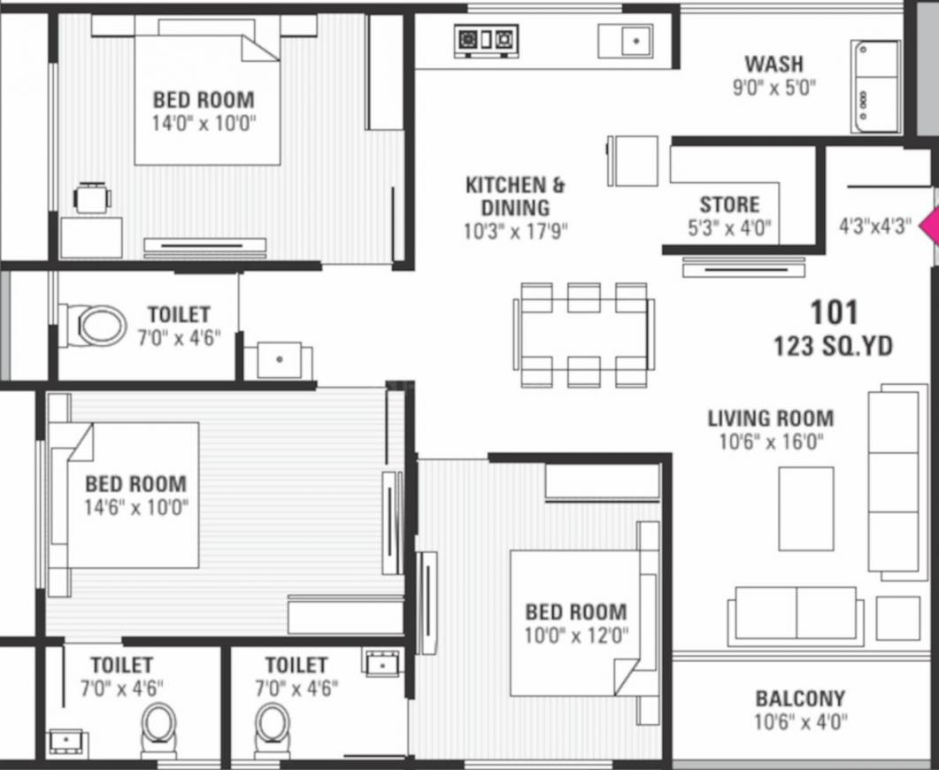 Hiradhan Shubhadra Flats Floor Plan: 3 BHK Unit with Built up area of 977 sq.ft 1