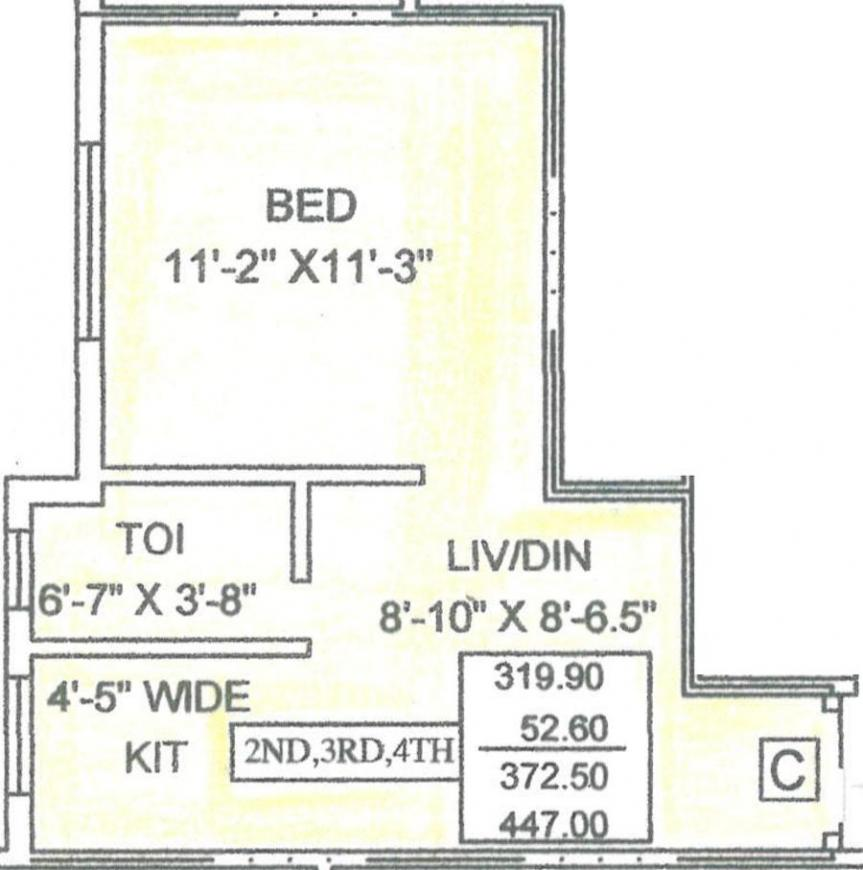 Vinayak Plaza Floor Plan: 1 BHK Unit with Built up area of 447 sq.ft 1