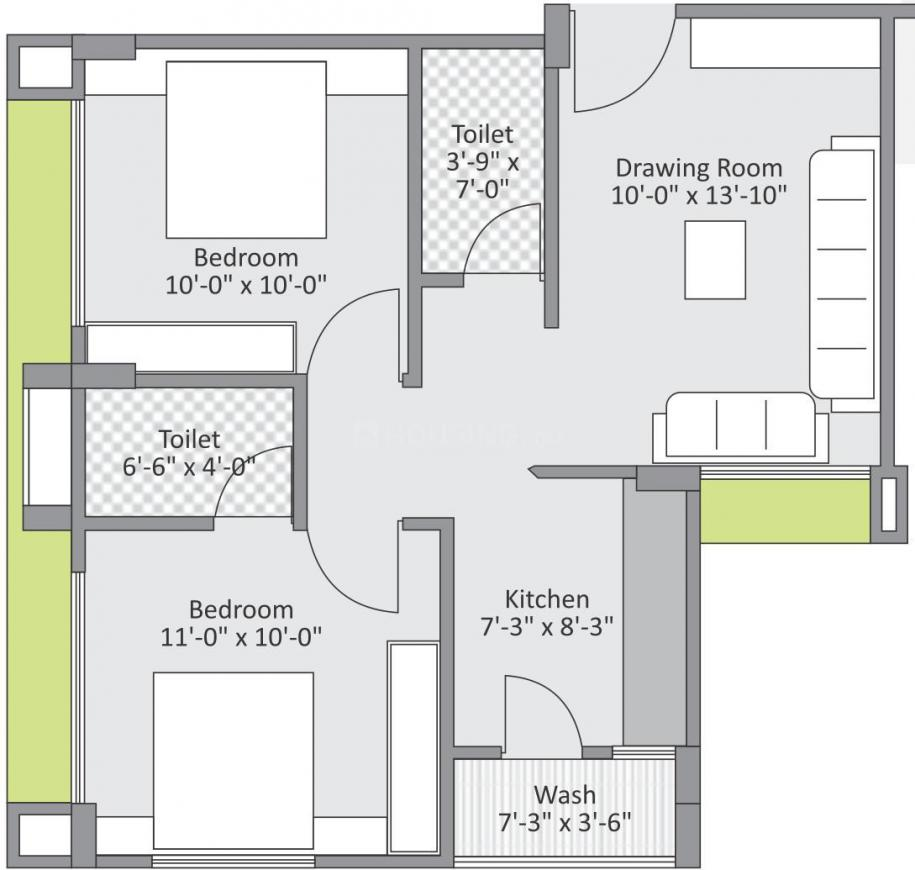 Ayman Residency Floor Plan: 2 BHK Unit with Built up area of 526 sq.ft 1