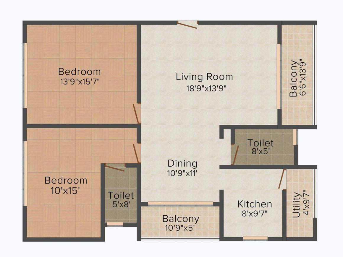Floor Plan Image of 1530 - 1705 Sq.ft 2 BHK Apartment for buy in Nivee South Park