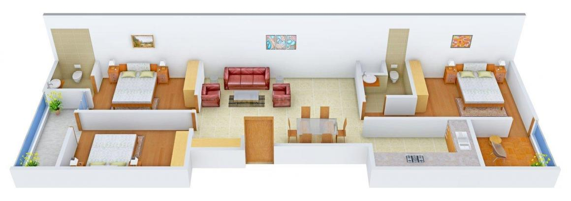 Floor Plan Image of 0 - 1500.0 Sq.ft 3 BHK Apartment for buy in Yash Apartment - CD - 56 DN