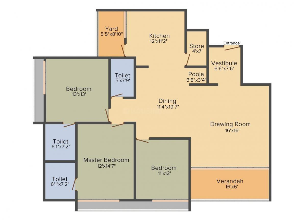 Sun Prima Floor Plan: 3 BHK Unit with Built up area of 2350 sq.ft 1