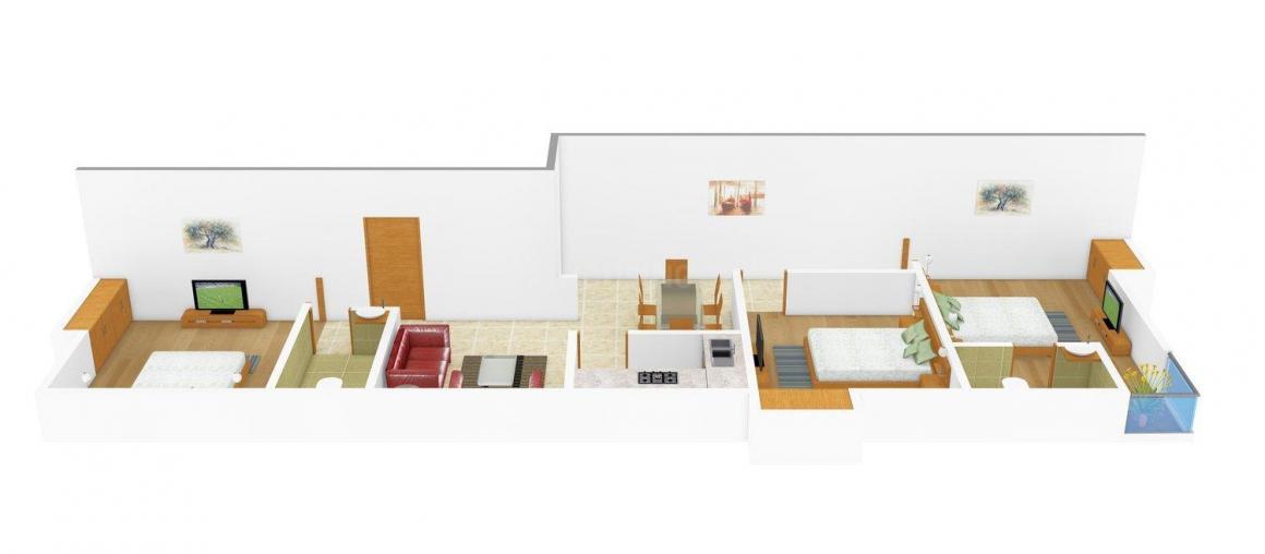 Floor Plan Image of 0 - 1350 Sq.ft 3 BHK Apartment for buy in SS 23 Jodhpur Park