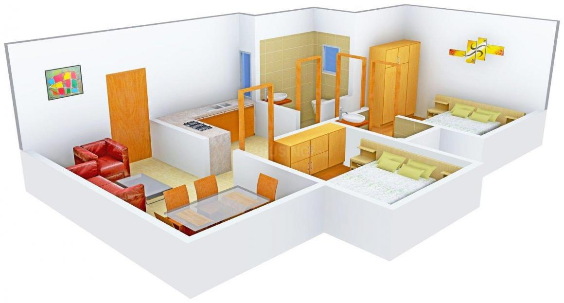 Floor Plan Image of 500.0 - 545.0 Sq.ft 2 BHK Apartment for buy in Kings Heights - 1