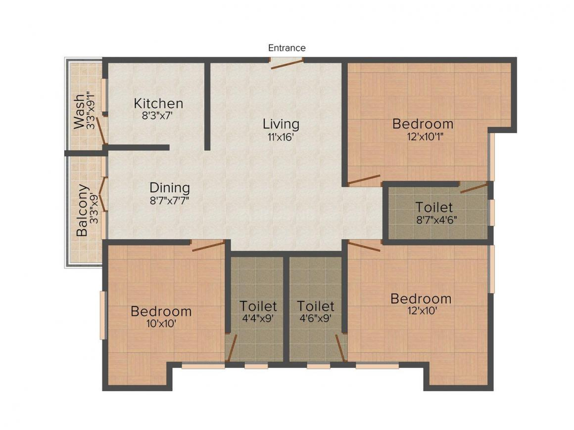 Floor Plan Image of 0 - 1215 Sq.ft 3 BHK Apartment for buy in India Chandra
