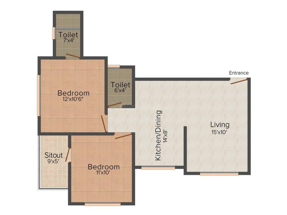 Floor Plan Image of 0 - 850 Sq.ft 2 BHK Apartment for buy in Gajra Aditya Apartment