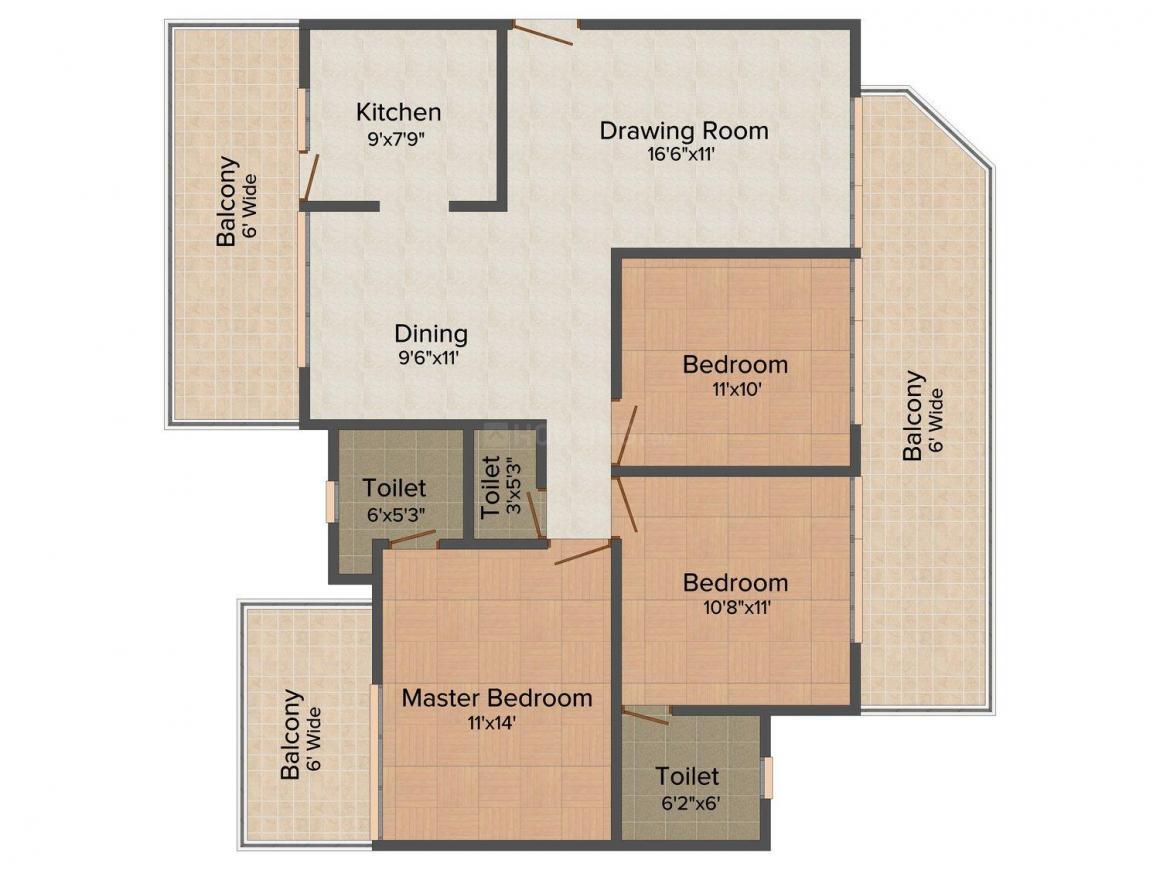 Solutrean Caladium Floor Plan: 3 BHK Unit with Built up area of 1805 sq.ft 1