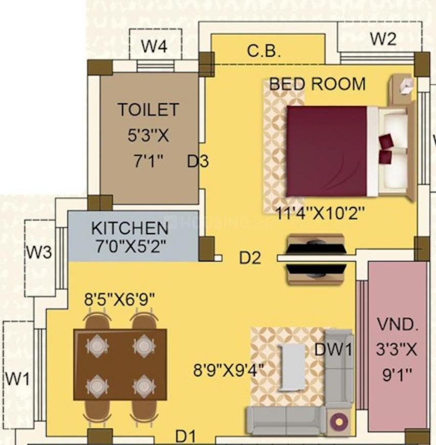 Eden Oxford Park Floor Plan: 1 BHK Unit with Built up area of 561 sq.ft 1