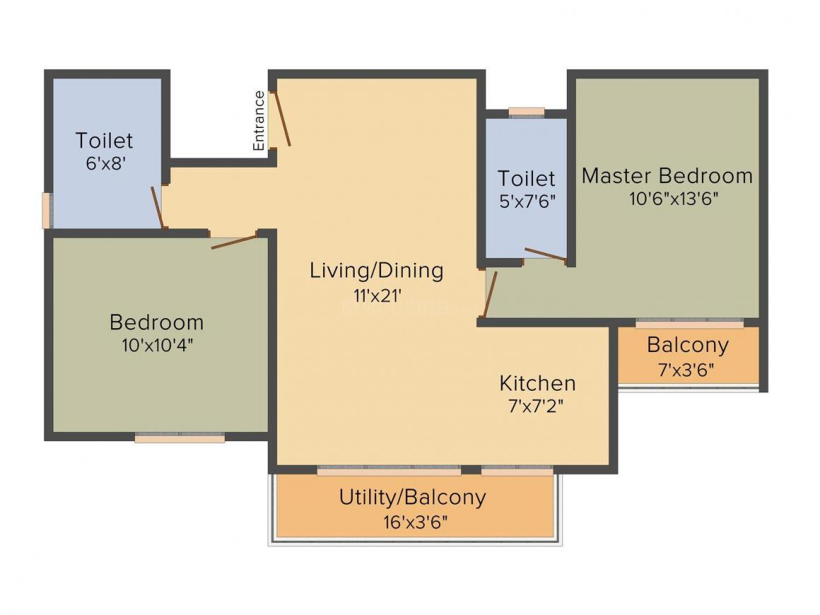 Floor Plan Image of 970 - 1200 Sq.ft 2 BHK Apartment for buy in Sai Balaji Elite
