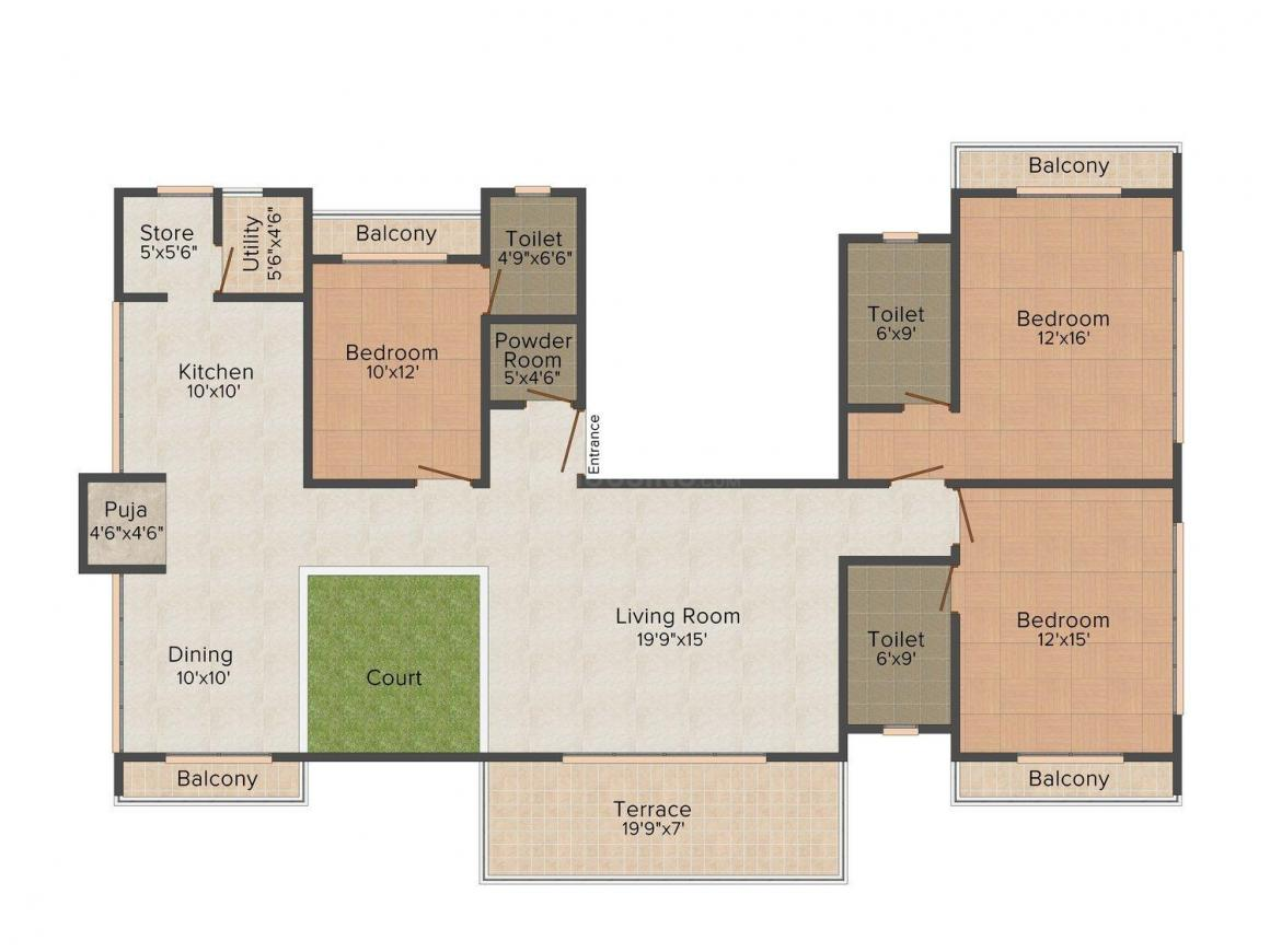 Floor Plan Image of 2350.0 - 2550.0 Sq.ft 3 BHK Apartment for buy in Vaastu Ashiyana