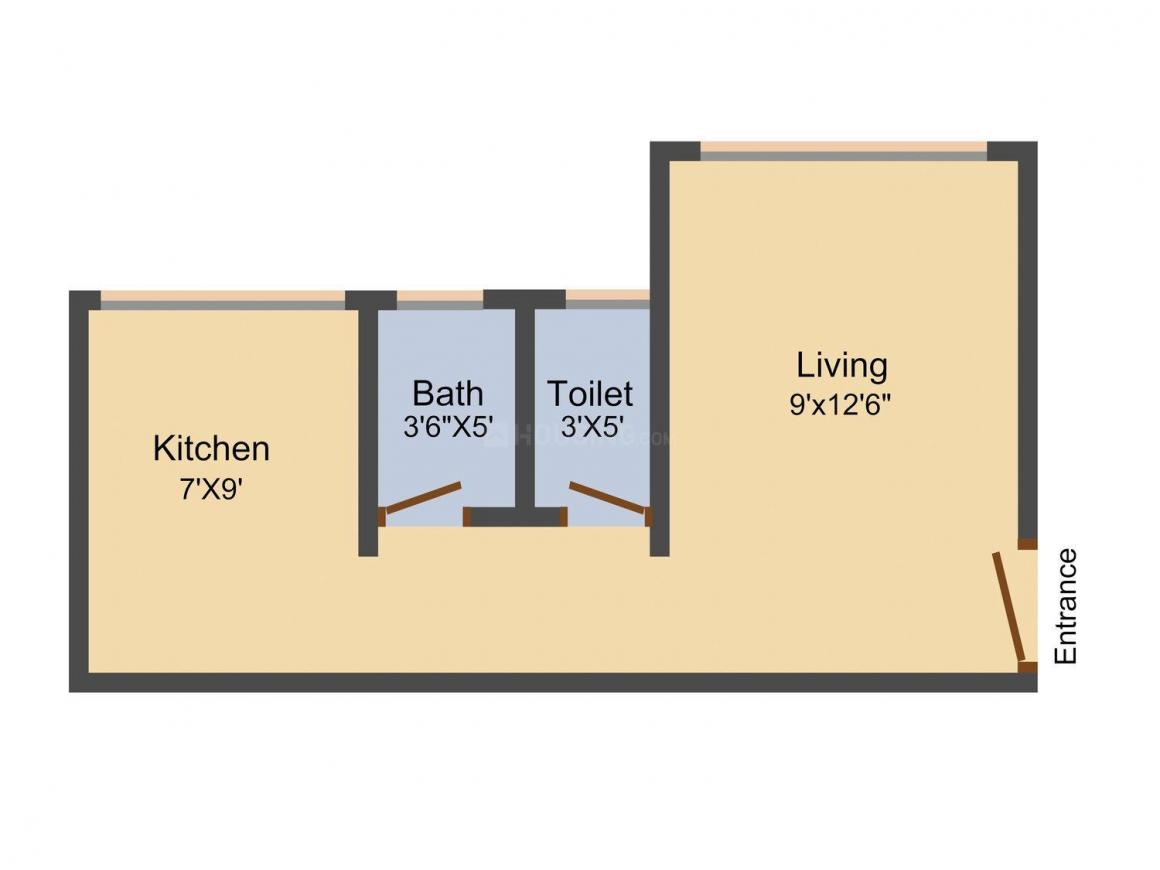 Disha Galaxy Floor Plan: 1 BHK Unit with Built up area of 370 sq.ft 1
