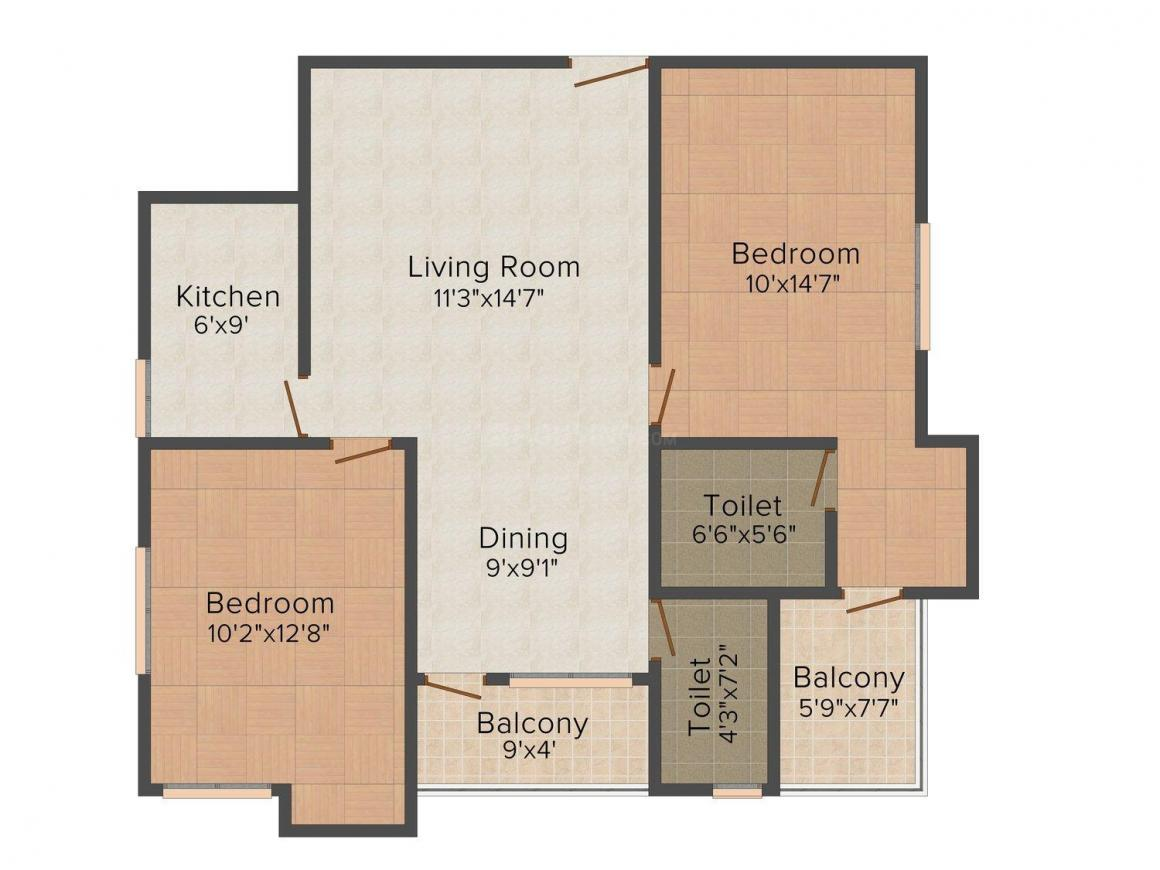 Mundeshwari Trident Floor Plan: 2 BHK Unit with Built up area of 1135 sq.ft 1
