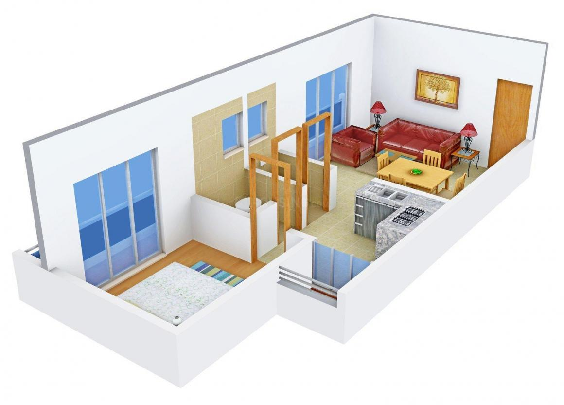 Floor Plan Image of 0 - 750.0 Sq.ft 1 BHK Apartment for buy in Karan Orchid Apartment