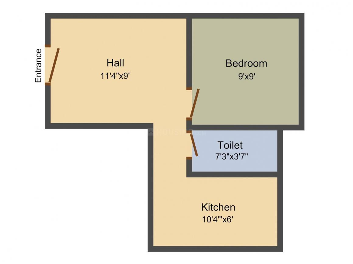 Floor Plan Image of 402.0 - 731.0 Sq.ft 1 BHK Apartment for buy in Maha Maha Dwaraka