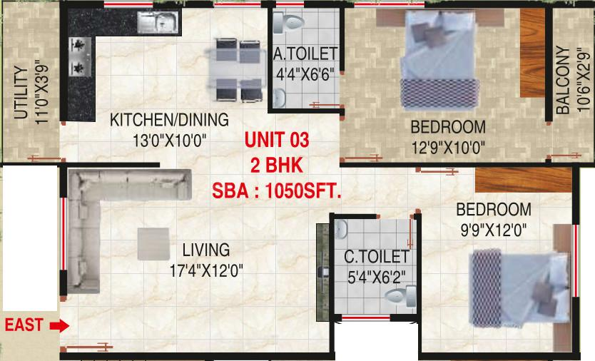 SLV Grand Floor Plan: 2 BHK Unit with Built up area of 1050 sq.ft 1
