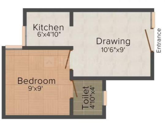 Best Property Apartment 3 Floor Plan: 1 BHK Unit with Built up area of 550 sq.ft 1