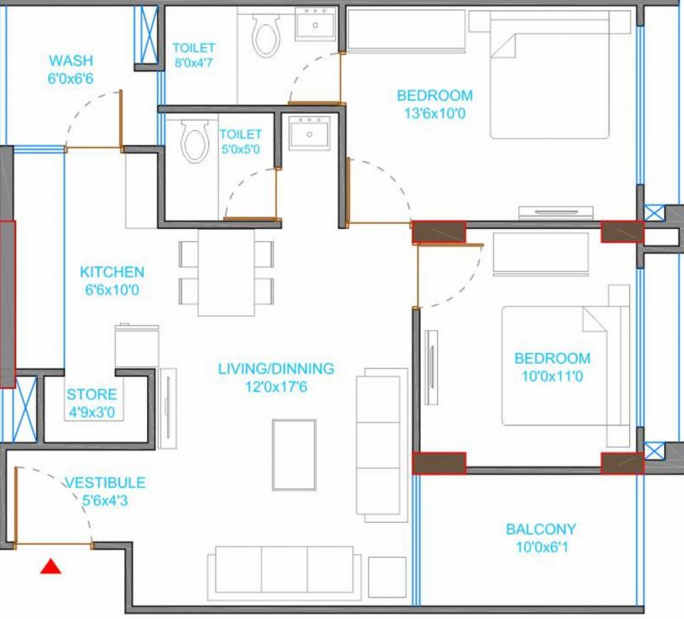 Riseonic Namoh Floor Plan: 2 BHK Unit with Built up area of 670 sq.ft 1
