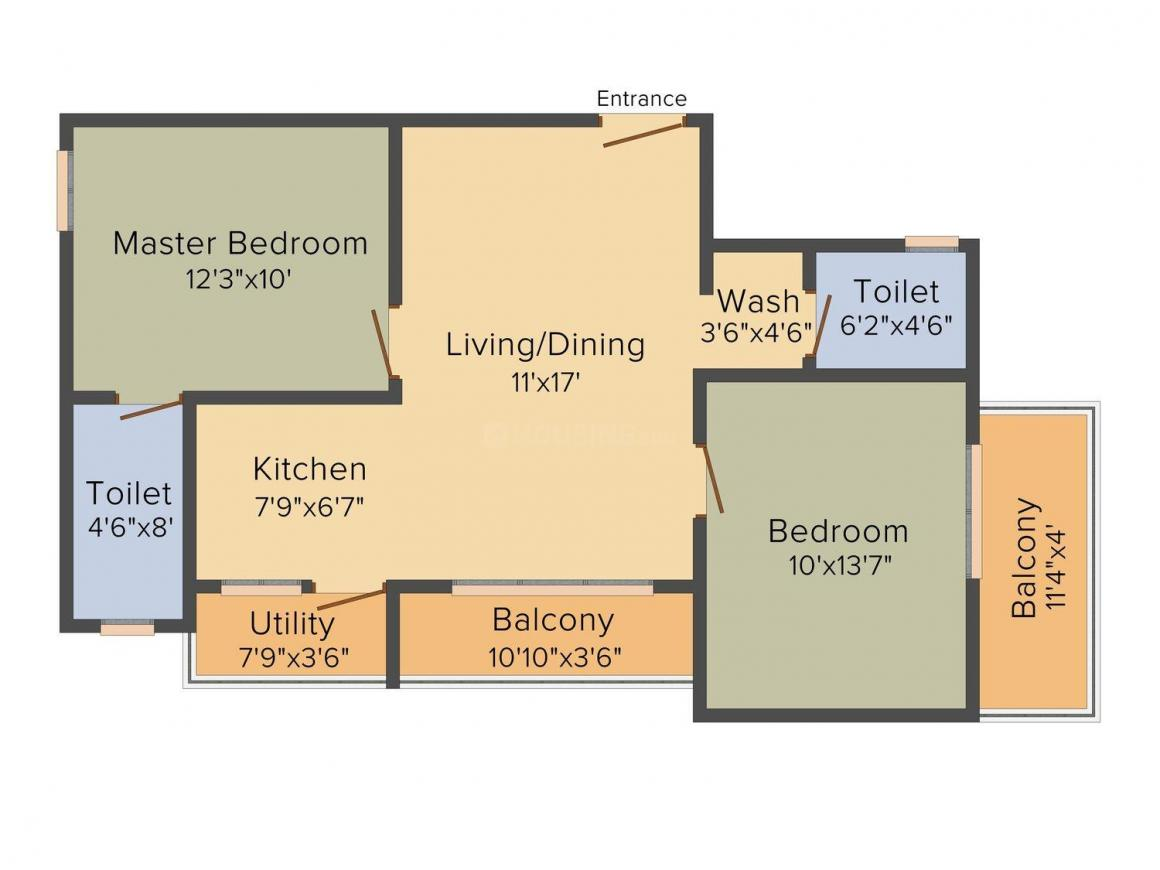 Floor Plan Image of 0 - 1025.0 Sq.ft 2 BHK Apartment for buy in Ambiant Ambiant Asset Homes
