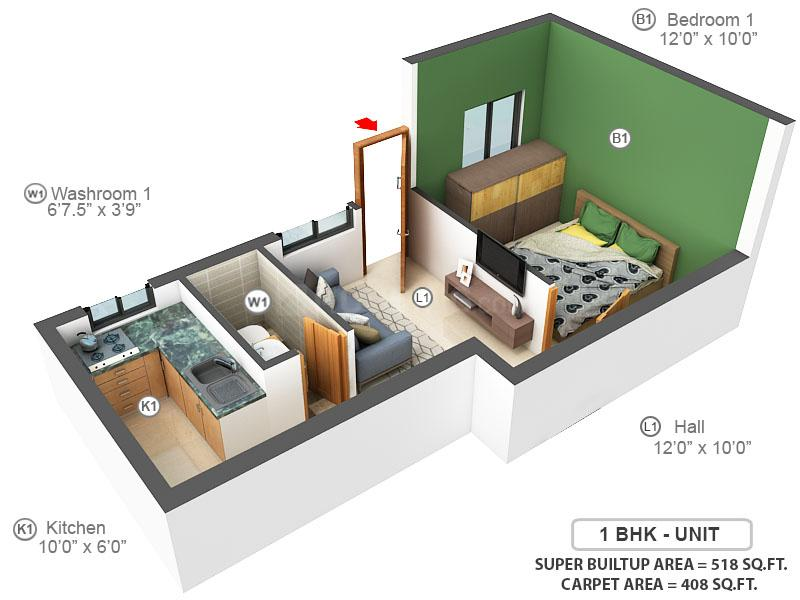 MP Wenda Floor Plan: 1 BHK Unit with Built up area of 408 sq.ft 1