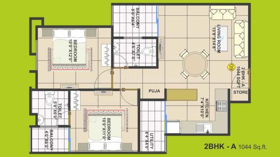 Trishla Apartment Floor Plan: 2 BHK Unit with Built up area of 1044 sq.ft 2