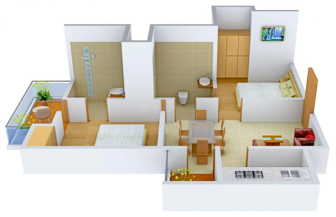 Supertech Ecovillage IV Floor Plan: 2 BHK Unit with Built up area of 890 sq.ft 1