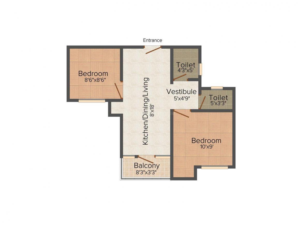 Akshaya Republic Floor Plan: 2 BHK Unit with Built up area of 615 sq.ft 1