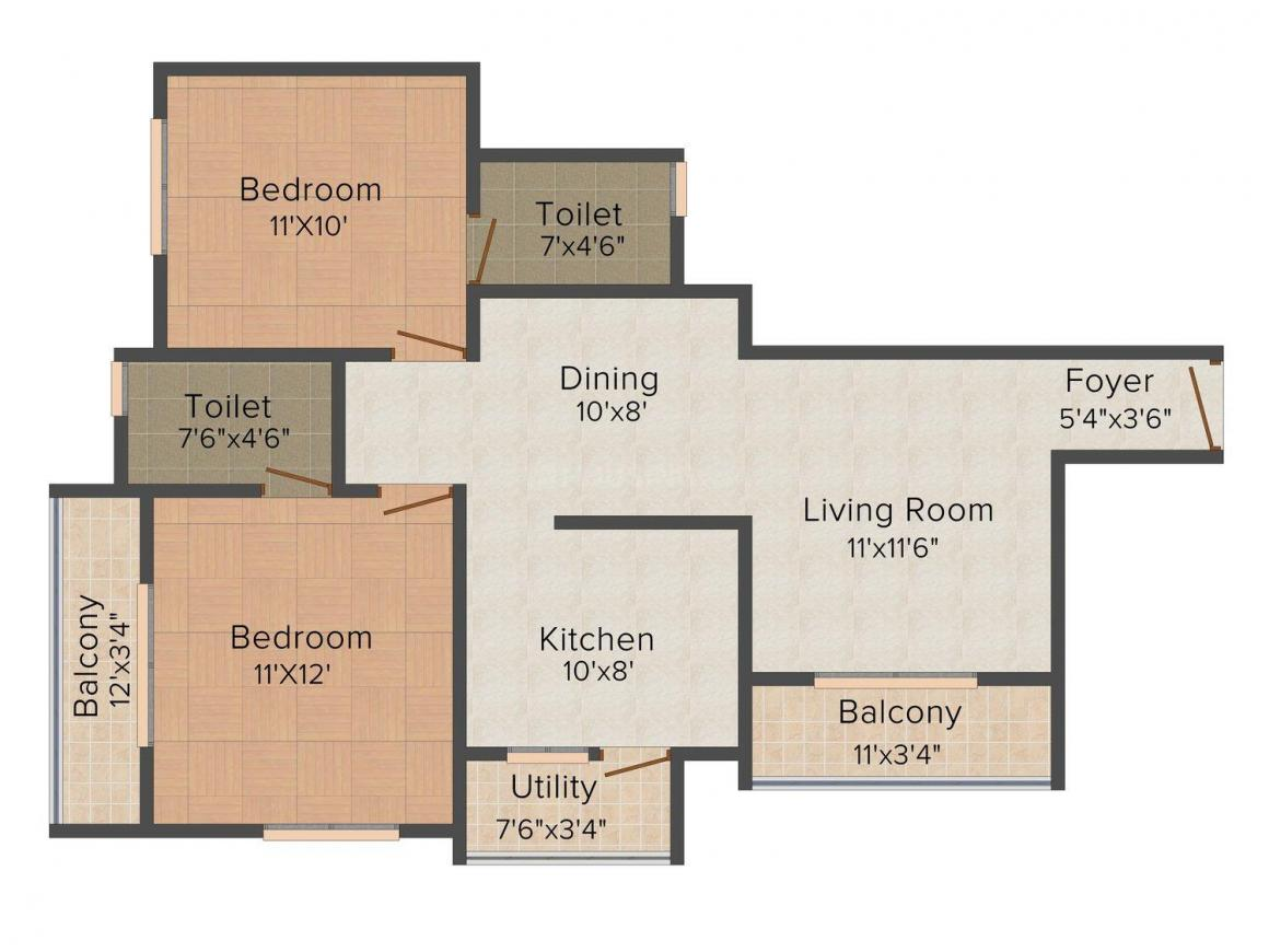 Floor Plan Image of 991 - 1170 Sq.ft 2 BHK Apartment for buy in Confident Gold Coast