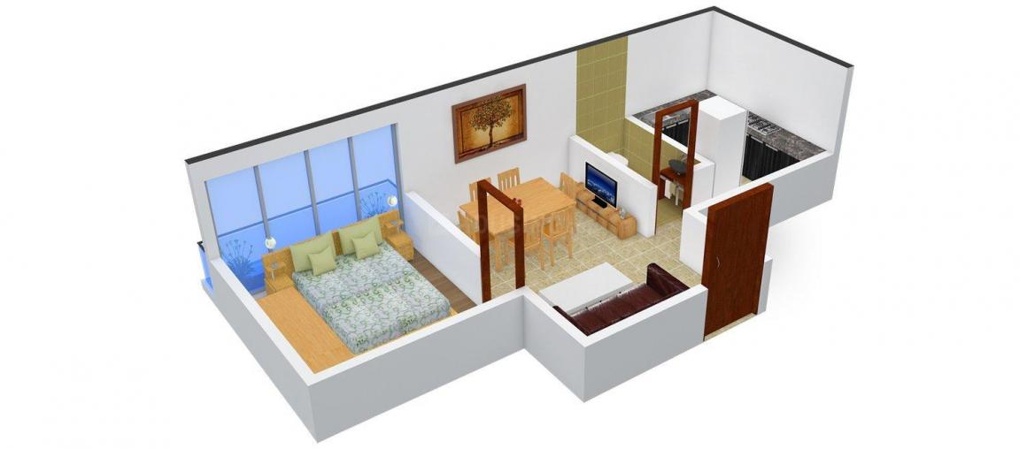 Deepika Daffodil Floor Plan: 1 BHK Unit with Built up area of 524 sq.ft 1