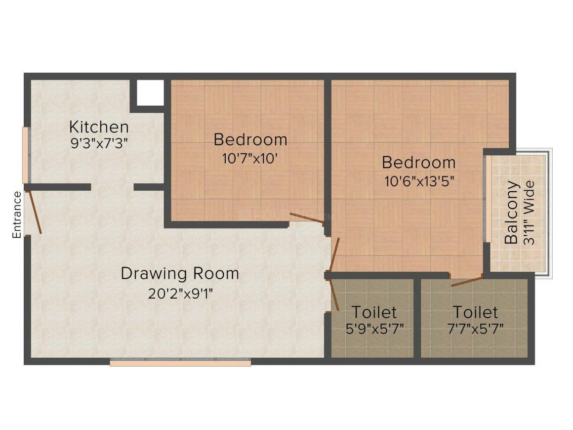 Floor Plan Image of 750 - 1400 Sq.ft 2 BHK Apartment for buy in Shree Ram Aashiana Apartment