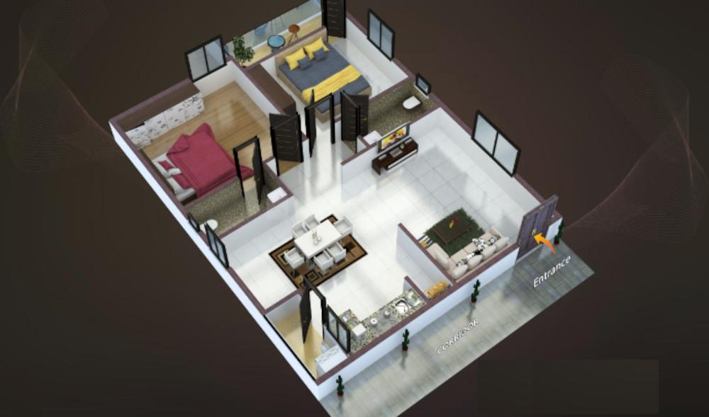 Symantaka Emerald Heights Floor Plan: 2 BHK Unit with Built up area of 1145 sq.ft 1
