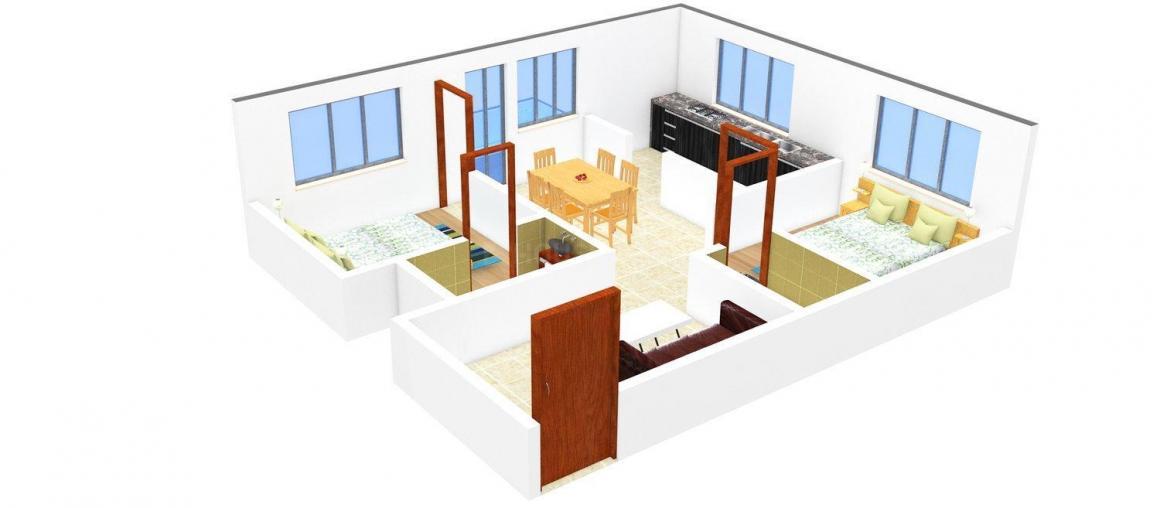 Floor Plan Image of 754 - 956 Sq.ft 2 BHK Apartment for buy in Copco Tamara Terrace