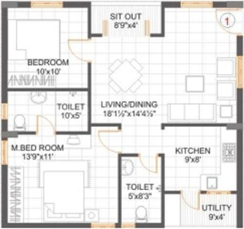 Alekhya Golden Bamboos Floor Plan: 2 BHK Unit with Built up area of 1035 sq.ft 1