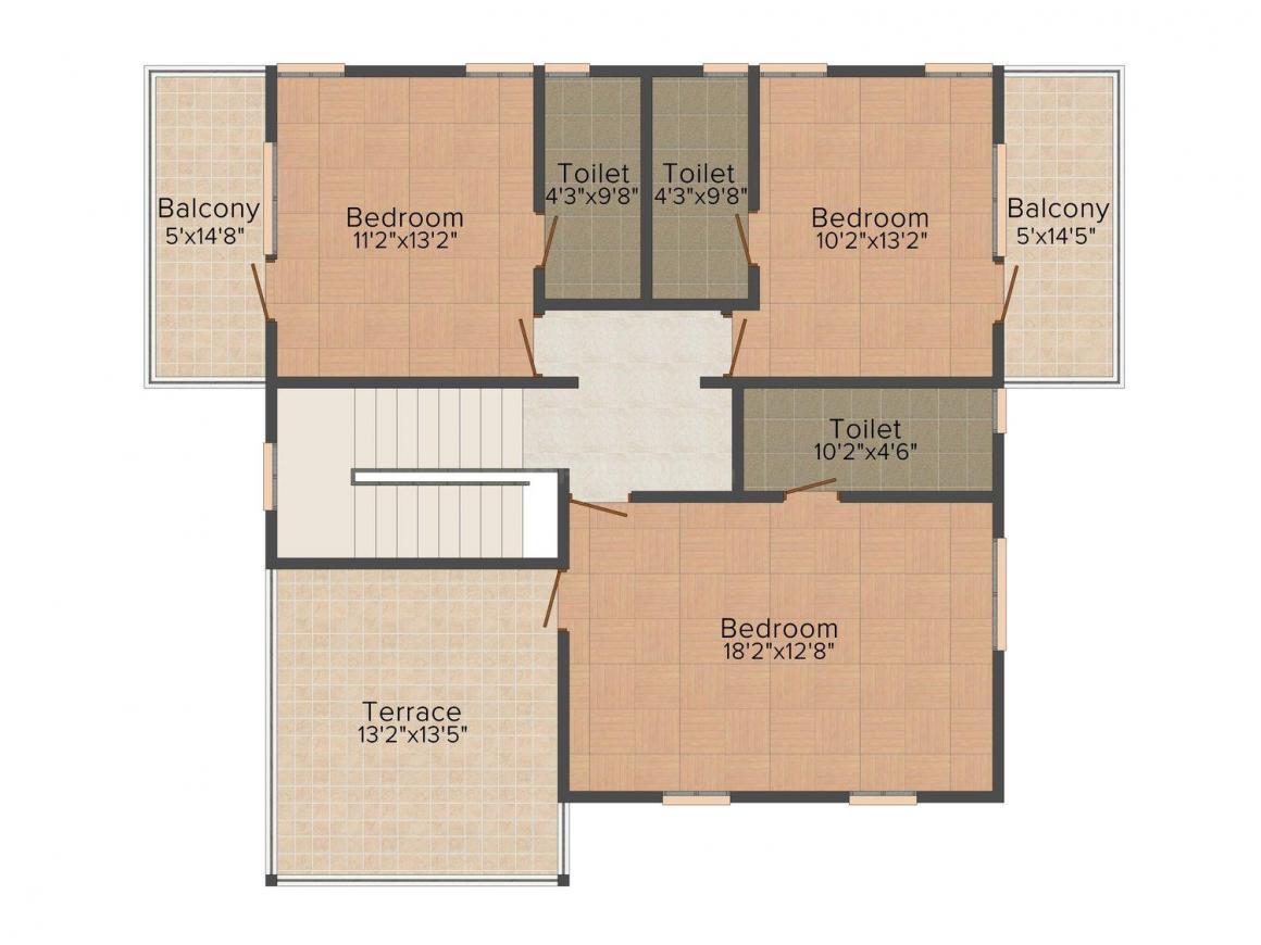 Floor Plan Image of 1624 - 2298 Sq.ft 4 BHK Duplex for buy in Talak St. Rita