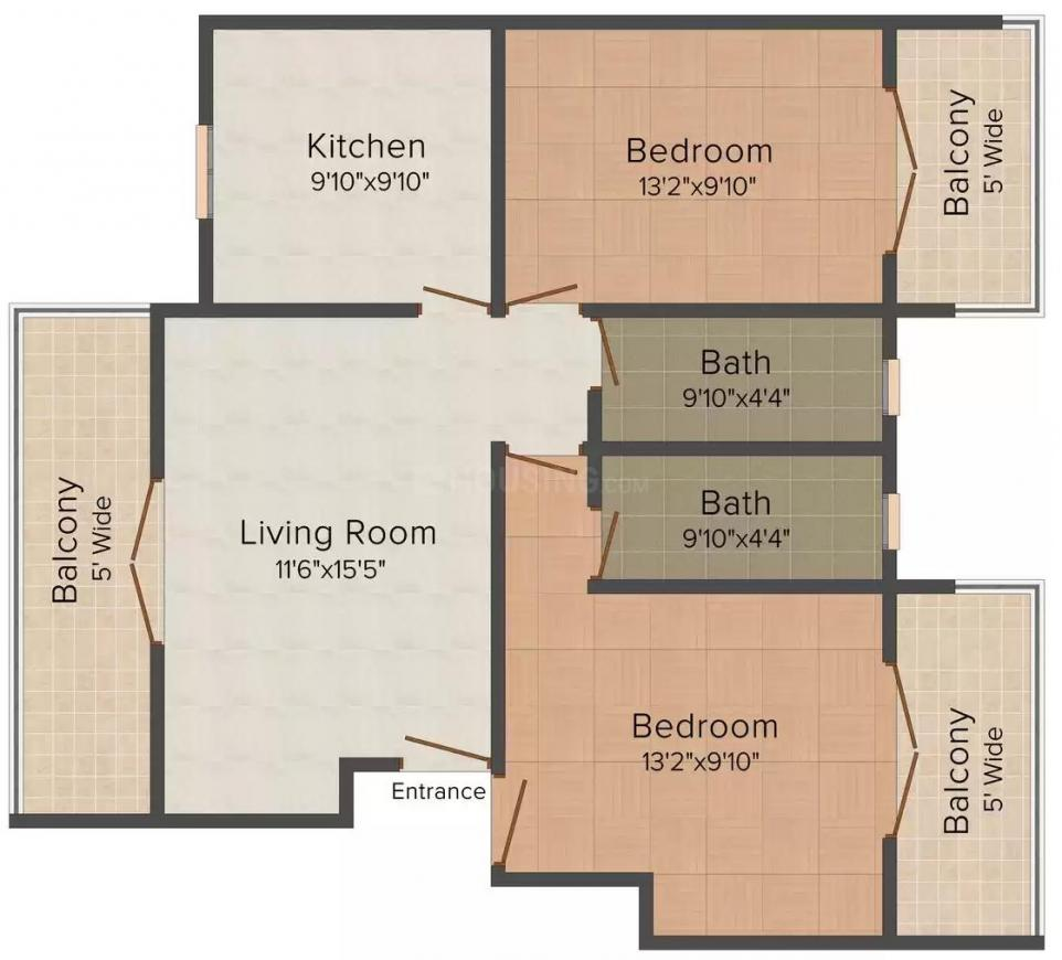 Floor Plan Image of 753.0 - 1109.0 Sq.ft 1 BHK Apartment for buy in Micon Coastal Paradise