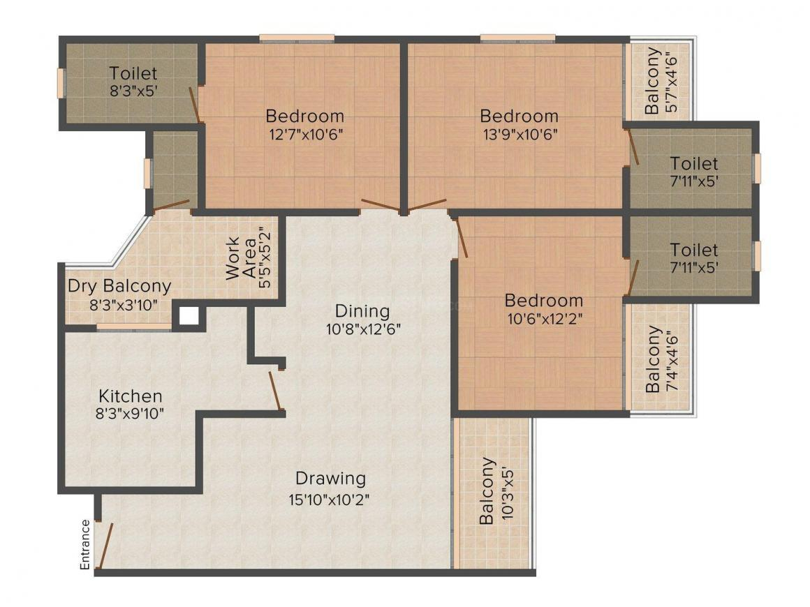 Floor Plan Image of 0 - 1629.0 Sq.ft 3 BHK Apartment for buy in Cheloor Krishna Palace