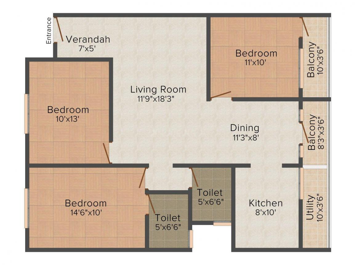 Floor Plan Image of 0 - 1390 Sq.ft 3 BHK Apartment for buy in Ashiana Emerald