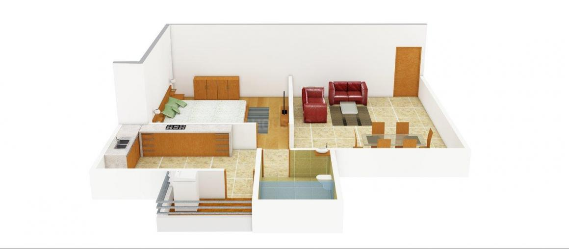 Subhdra Dev Sanidhya Floor Plan: 1 BHK Unit with Built up area of 810 sq.ft 1