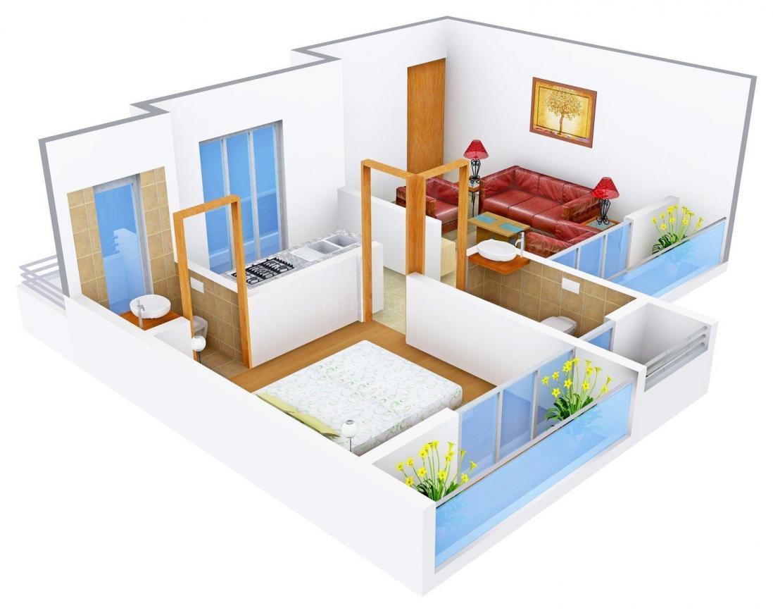 Floor Plan Image of 551.0 - 703.0 Sq.ft 1 BHK Apartment for buy in Platinum Sai Shrushti