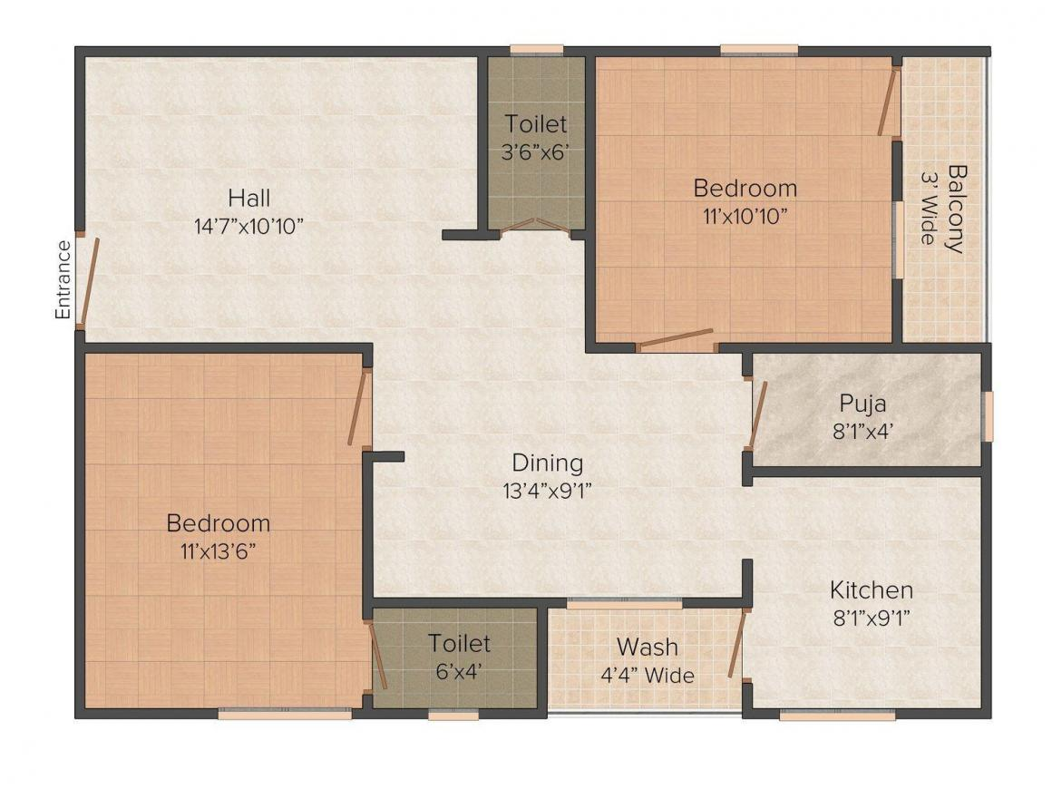 Floor Plan Image of 1000.0 - 2000.0 Sq.ft 2 BHK Apartment for buy in Vedashree Syamala Pride