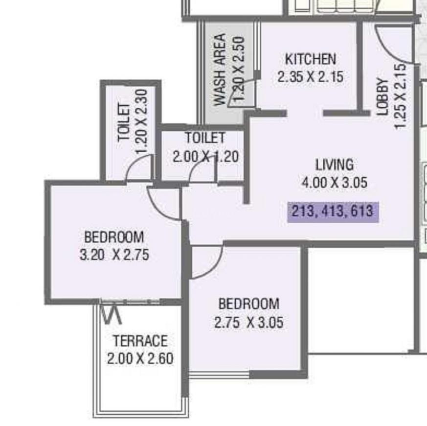 Nirman Aura Wing A Floor Plan: 2 BHK Unit with Built up area of 618 sq.ft 1