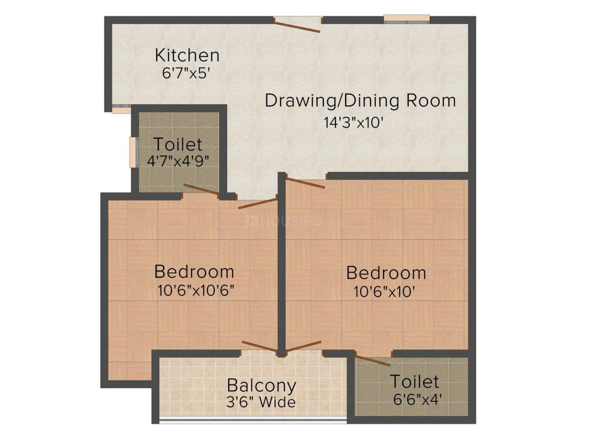 Vikram Apartment - 2 Floor Plan: 2 BHK Unit with Built up area of 650 sq.ft 1