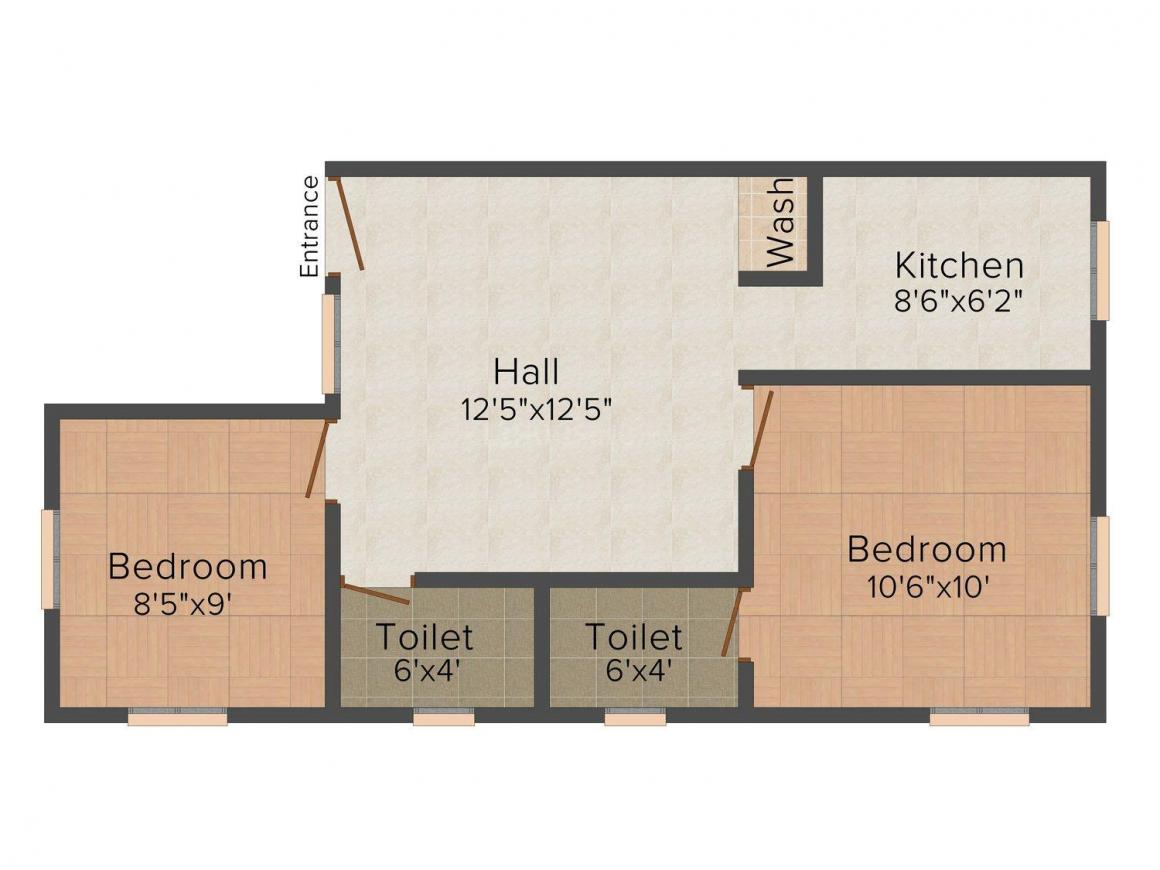 MS Foundations Royal Gate Floor Plan: 2 BHK Unit with Built up area of 603 sq.ft 1